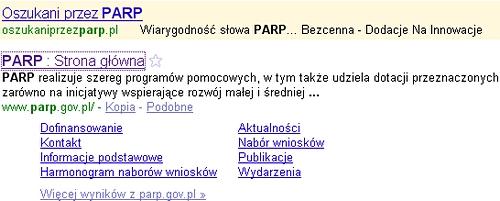 Nad stroną PARP pojawiła się reklama AdWords, reklamujaca stronę Oszukaniprzezparp.pl
