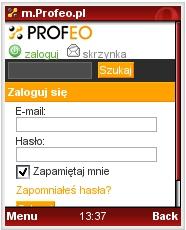 Mobila wersja Profeo w przeglądarce Opera Mini