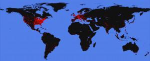 Stworzona przez F-Secure mapa dystrybucji wirusa Nyxem.E