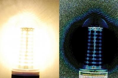 Porównanie standardowego i przetworzonego przez algorytm PST obrazu świecącej lampy LED, Bahram Jalali.