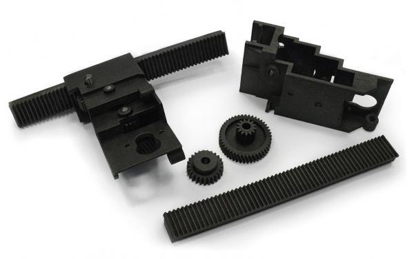Elementy skrzyni biegów wydrukowane przy pomocy HP Multi Jet Fusion 3D.