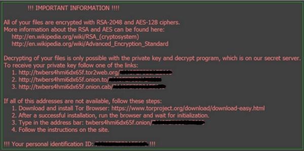 Komunikat wyświetlany przez najnowsze programy ransomware Locky. Źródło: McAfee.